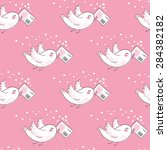 pattern with bird and love... | Shutterstock .eps vector #284382182