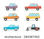 set of cartoon cars. flat... | Shutterstock .eps vector #284387402