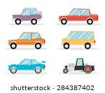 set of cartoon cars. flat... | Shutterstock .eps vector #284387402