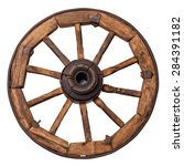 old wagon wheel on a white... | Shutterstock . vector #284391182