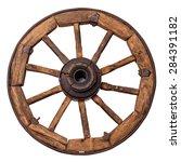 Old Wagon Wheel On A White...