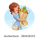beautiful girl with package of...   Shutterstock .eps vector #284418152