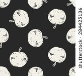 apple doodle seamless pattern... | Shutterstock . vector #284425136