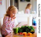 cute little girl with healthy... | Shutterstock . vector #284427476