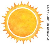 watercolor sun with spiked... | Shutterstock . vector #284431796