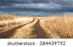 Dirt Road In The Dry Field In ...
