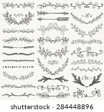 set of hand drawn black doodle... | Shutterstock .eps vector #284448896