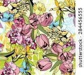 bright spring flowers  seamless ... | Shutterstock . vector #284456555