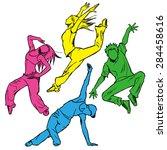 sketching of the jazz dancer ... | Shutterstock .eps vector #284458616