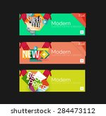 set of banners with stickers ... | Shutterstock .eps vector #284473112