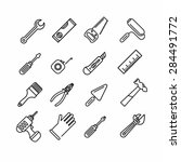 Tools Icons Set. Outline Style...