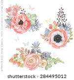 Stock vector collection decorative design of watercolor flowers and leaves in vintage style with butterflies 284495012