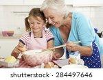grandmother and granddaughter... | Shutterstock . vector #284497646
