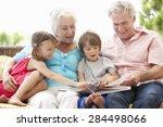 grandparents and grandchildren...   Shutterstock . vector #284498066