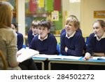 teacher teaching lesson to... | Shutterstock . vector #284502272