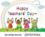 happy teacher's day | Shutterstock .eps vector #284503466