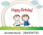 happy birthday | Shutterstock .eps vector #284504735