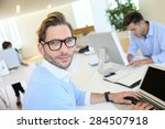 businessman with eyeglasses... | Shutterstock . vector #284507918