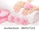 french manicure with rose... | Shutterstock . vector #284517122