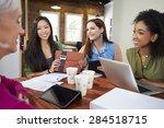 group of businesswomen meeting...   Shutterstock . vector #284518715