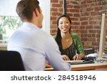 businesswoman interviewing male ... | Shutterstock . vector #284518946