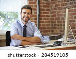 man working at computer in... | Shutterstock . vector #284519105