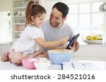 father and daughter following... | Shutterstock . vector #284521016