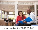 college student having meeting... | Shutterstock . vector #284521148