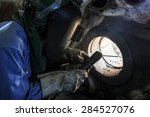 welder repair bore by shield... | Shutterstock . vector #284527076