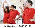 group of children enjoying... | Shutterstock . vector #284533112