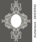oval frame. white lace frame.... | Shutterstock .eps vector #284535542