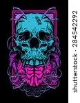skull and brain | Shutterstock .eps vector #284542292