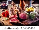 rare rectangle rack of lamb on...   Shutterstock . vector #284546498