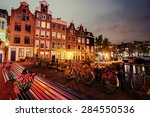 Stock photo beautiful calm night view of amsterdam city 284550536