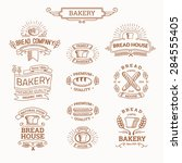 retro set label of bread bakery.... | Shutterstock .eps vector #284555405