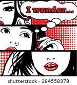 Pop Art I Wonder Card Vector...