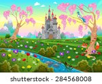 fairytale scenery with castle.... | Shutterstock .eps vector #284568008
