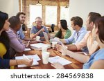 group of office workers meeting ... | Shutterstock . vector #284569838