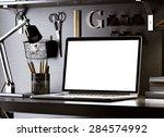 computer on table.  3d rendering | Shutterstock . vector #284574992