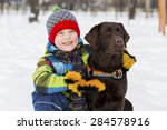 kid of school age with dog in... | Shutterstock . vector #284578916