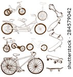 set with hand drawn bikes ...   Shutterstock .eps vector #284579042