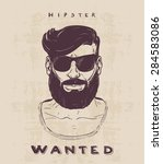 hipster with beard  mustage and ... | Shutterstock .eps vector #284583086