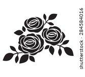 black silhouette of rose.... | Shutterstock .eps vector #284584016