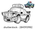 cartoon police car   caricature ... | Shutterstock . vector #284593982