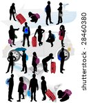 silhouettes of traveling people | Shutterstock .eps vector #28460380