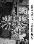 Small photo of India, Delhi; 21 january 2007, wooden religious Ganesh God statue for sale in a local store - EDITORIAL