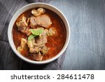 lamb stew or mutton curry with... | Shutterstock . vector #284611478