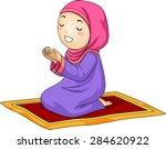 illustration of a little muslim ...