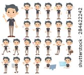 set of various poses of black... | Shutterstock .eps vector #284622242