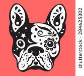 french bulldog sugar skull ... | Shutterstock .eps vector #284625302